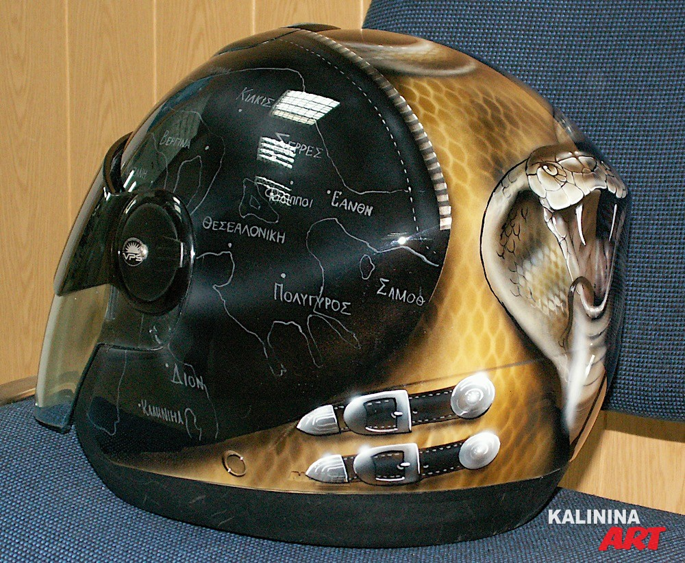 Роспись шлема - змея