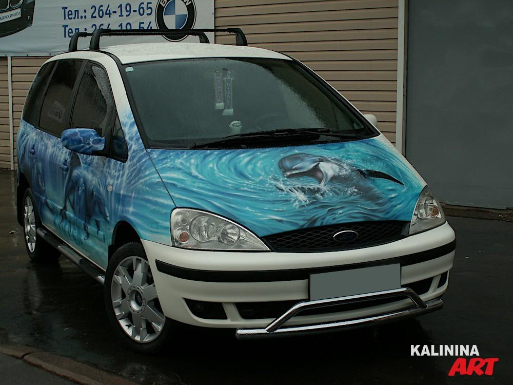 Аэрография на Ford - дельфины