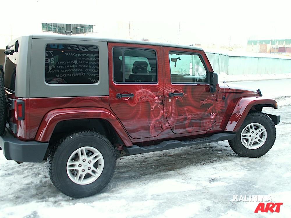 Аэрография на Jeep - драконы