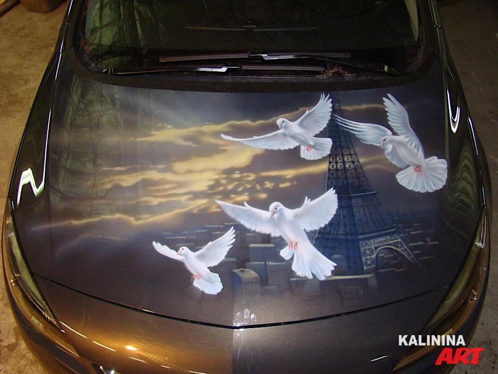 Аэрография автомобиля - Париж и голуби