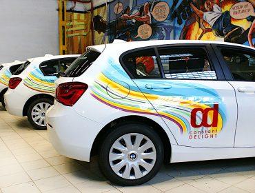 Рекламная аэрография корпоративных автомобилей - нанесён логотип constant delight